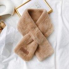 Теплые женские шарфы, Модный зимний шарф из искусственного меха, однотонная верхняя одежда, шарф с теплым помпоном для женщин, милые