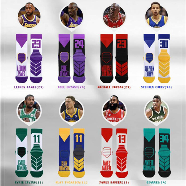 Adult Man Thick Sport Crew Towel Socks Arrow Sign Basketball Player Star Name Digital Number Super High Quality Original Design