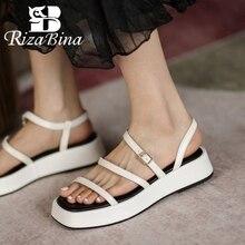 Rizabina tamanho 34-40 mulheres sandálias de couro real sapatos plataforma fivela cinta casual moda ao ar livre diariamente verão calçados femininos
