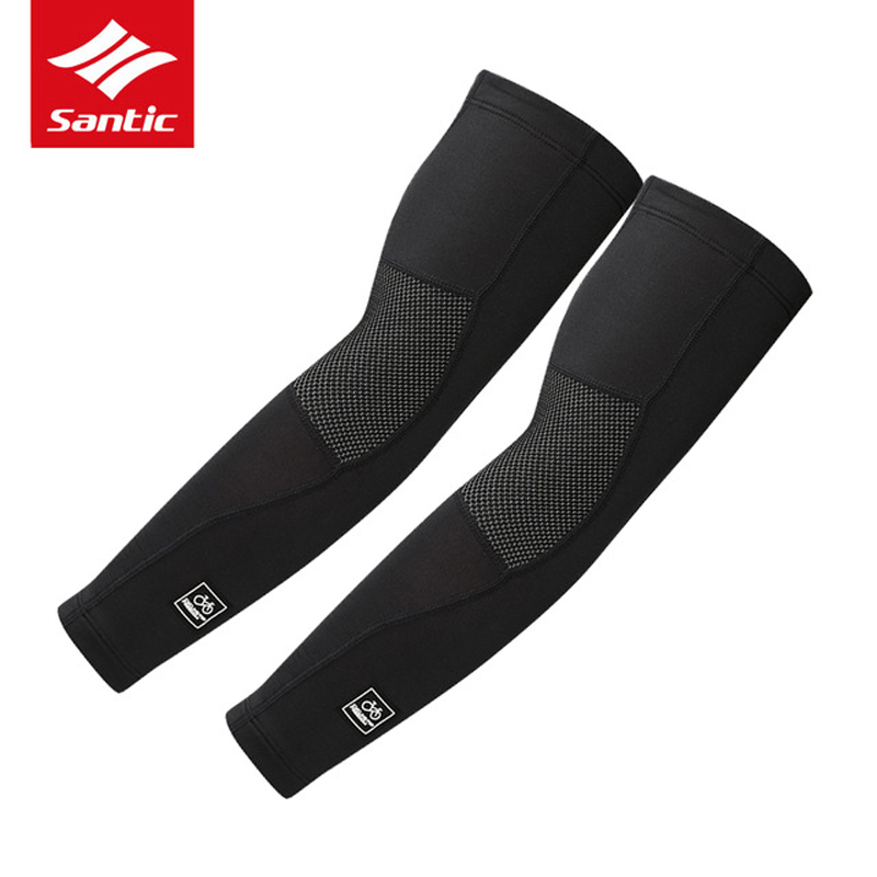 Santic 2019 New Arm Sleeve Thermal Fleece Cycling Arm Warmers Basketball Running Sleeves Armwarmers Bike Arm Sleeves W7C09072