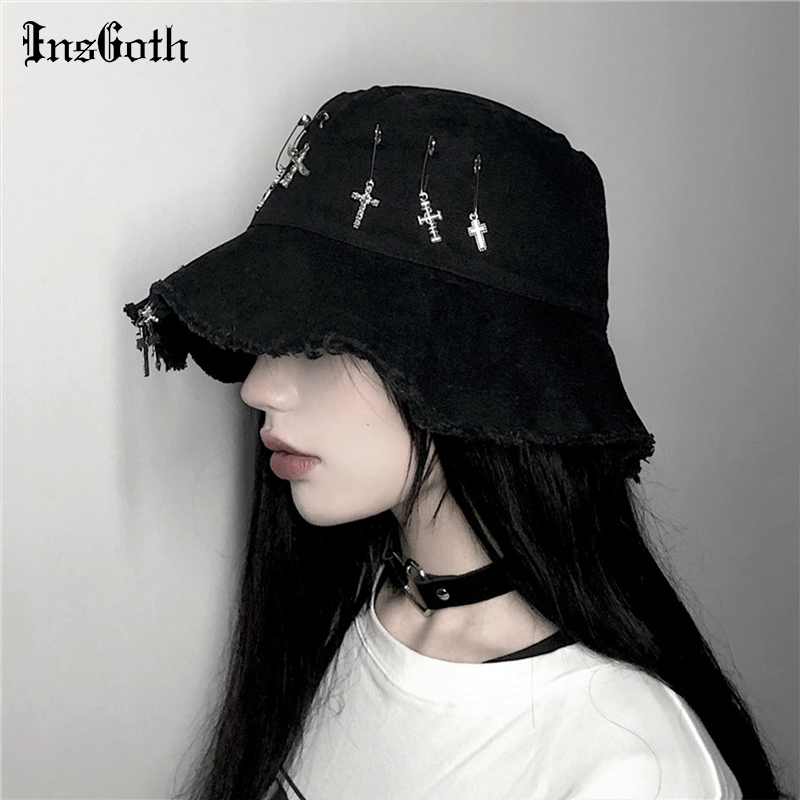 InsGoth Harajuku Punk Black Hats Black Cross Metal Pendant Buckets Hats Women Casual Gothic Streetwear Fashion Vintage Caps