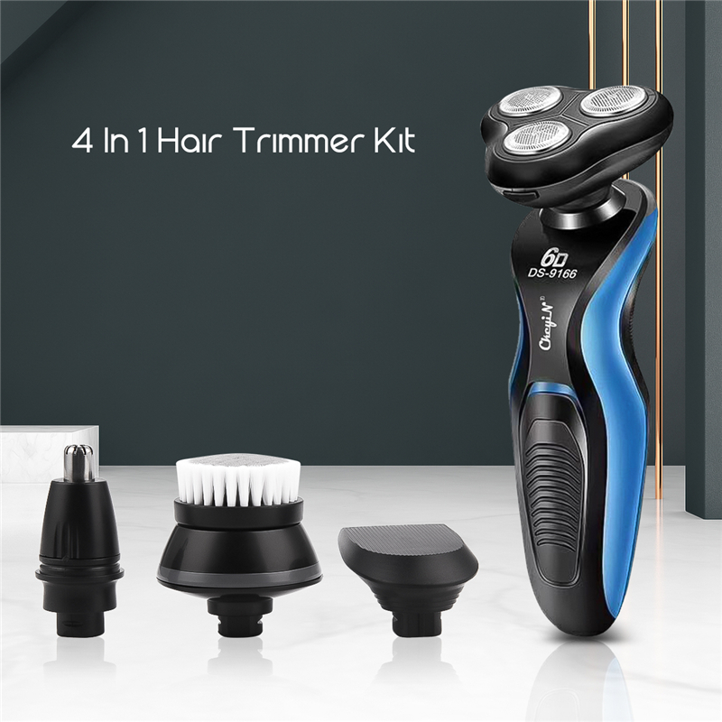 4 In 1 Male Electric Shaver Washable Shaving Rechargeable Beard Nose Trimmer Face Cleaning Brush 6D Floating Razor Machine P40