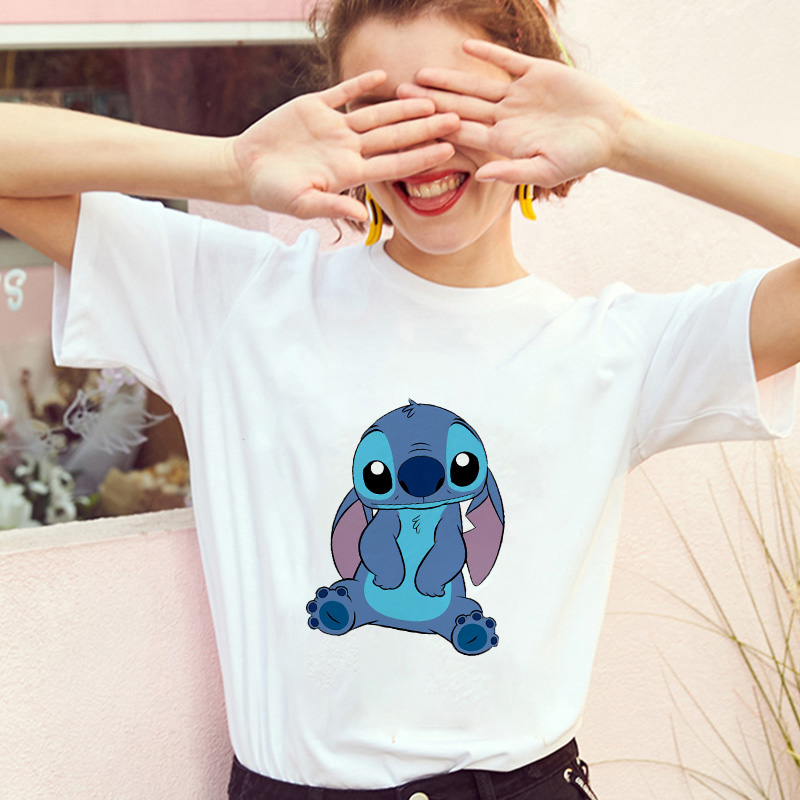 Showtly  Women's Fashion T-Shirt Lilo Stitch Harajuku Kawaii Short Sleeve Vintage Lovely Cartoon Female  Casual T Shirt Cute Tee
