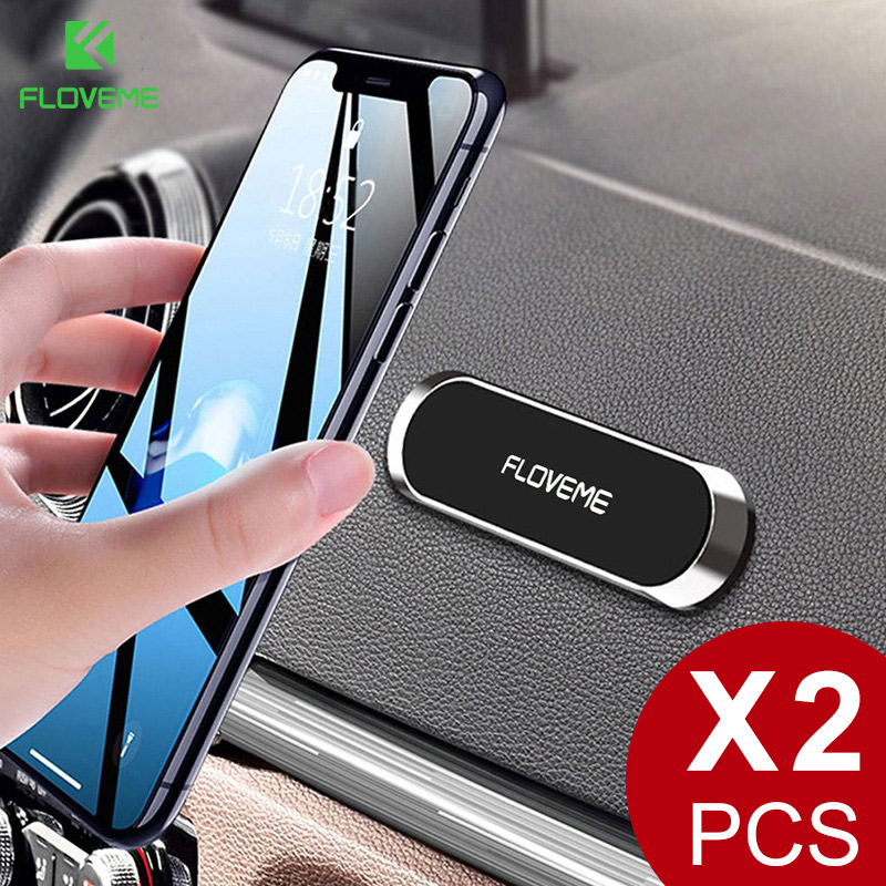FLOVEME Mini Strip Shape Magnetic Car Phone Holder Stand For IPhone Samsung Xiaomi Wall Metal Magnet Car Mount Dashboard Holder