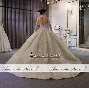 Image 4 - Suknia ślubna 2020 wysoki dekolt z całe z koralików zamówienie na zamówienie dubaj wesela