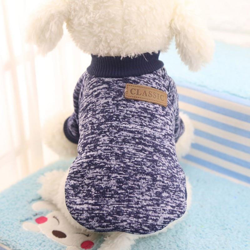 Одежда для собак, теплый свитер, мягкая куртка для чихуахуа, одежда для собак, одежда для щенков, куртка для собаки, зимняя одежда для маленьких собак - Цвет: Navy