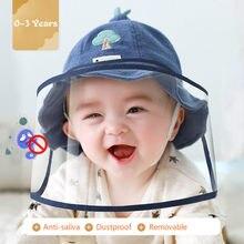Bebê menina menino chapéu beanie chapéu balde boné infantil chapéus de sol criança bonito dos desenhos animados caps anti-saliva removível rosto escudo