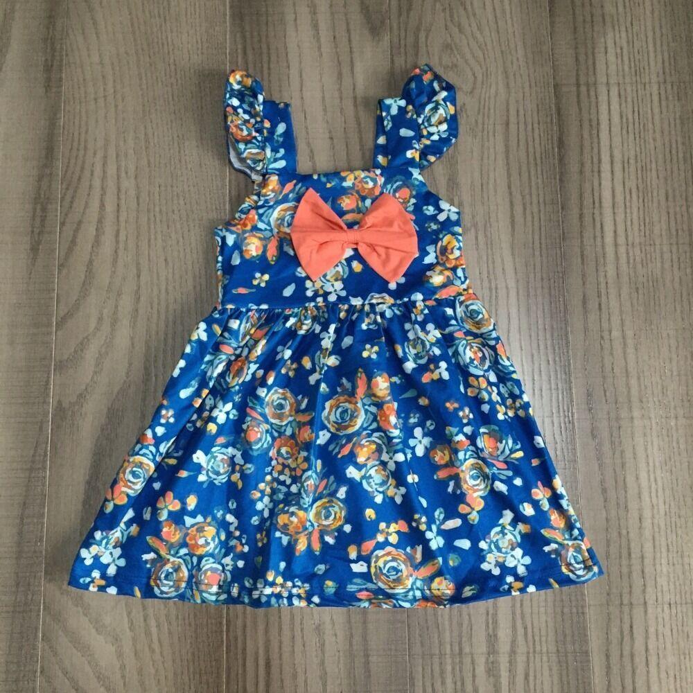 Baby Girls Summer Dress Girls Slip Blue Dress Girls Soft Floral Cotton Dress Wholesale