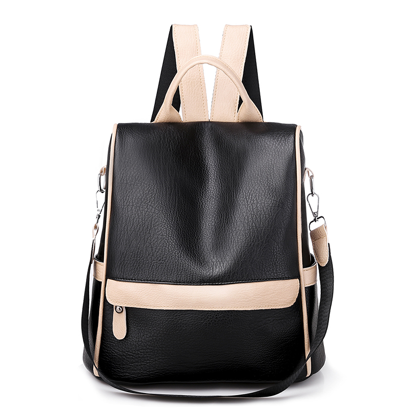 Hifuar 2019 Anti-theft Backpack Female Shoulder Bag PU Travel Waterproof Soft Leather Simple Dual-use Women's Small Bag