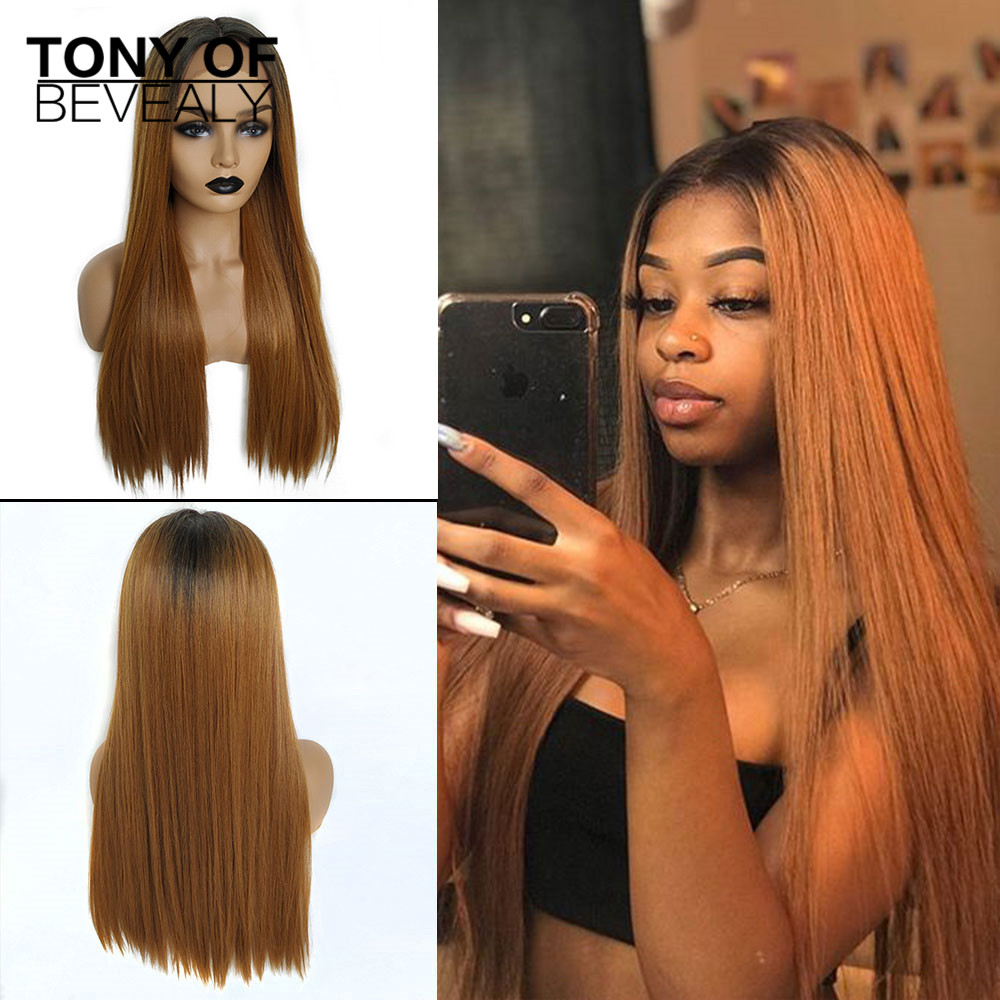 Long Straight Black to Brown Ombre Hair Heat Resistant Synthetic Lace Front Wigs for Black Women Afo Natural Wigs Middle Part