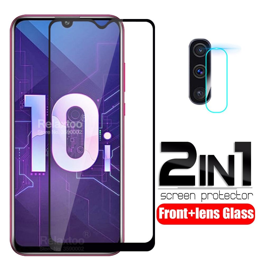 2 em 1 vidro temperado para huawei honor 10i 6.2 polegada HRY-LX1T protetor de tela em honra 10i honer 10 i câmera lente película protetora