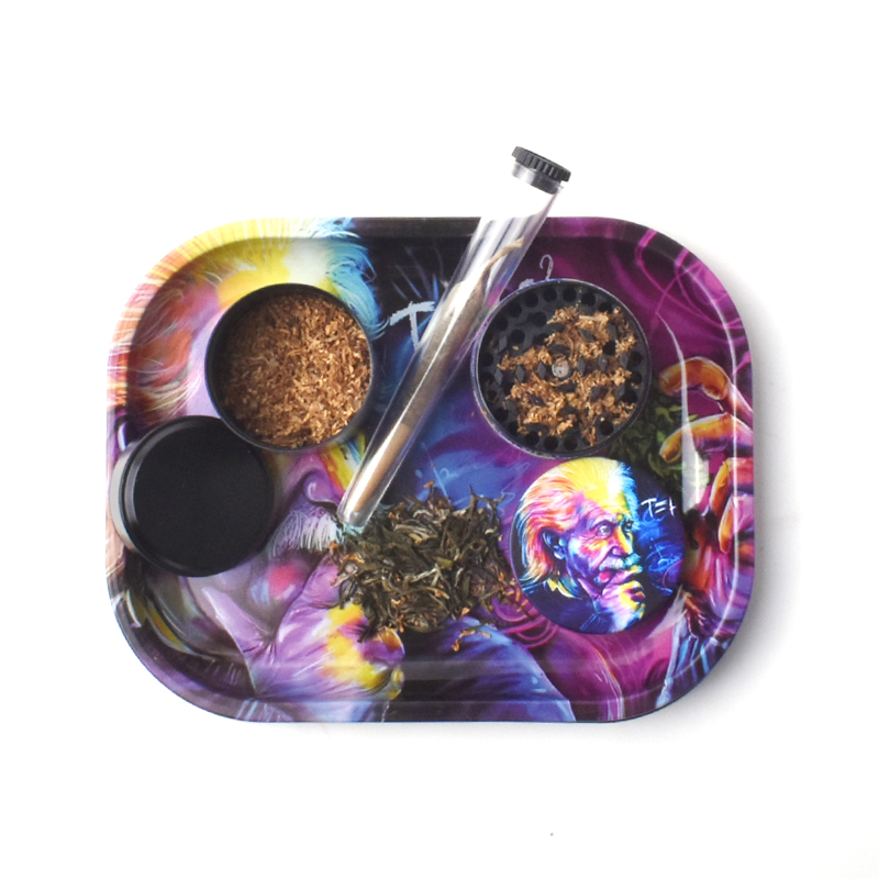 Rolling Tray Weed Grinder Set with Magnetic Lid 18X14cm Rolling Papers Tobacco Grinders Metal Trays Kit Smoking Accessories 4