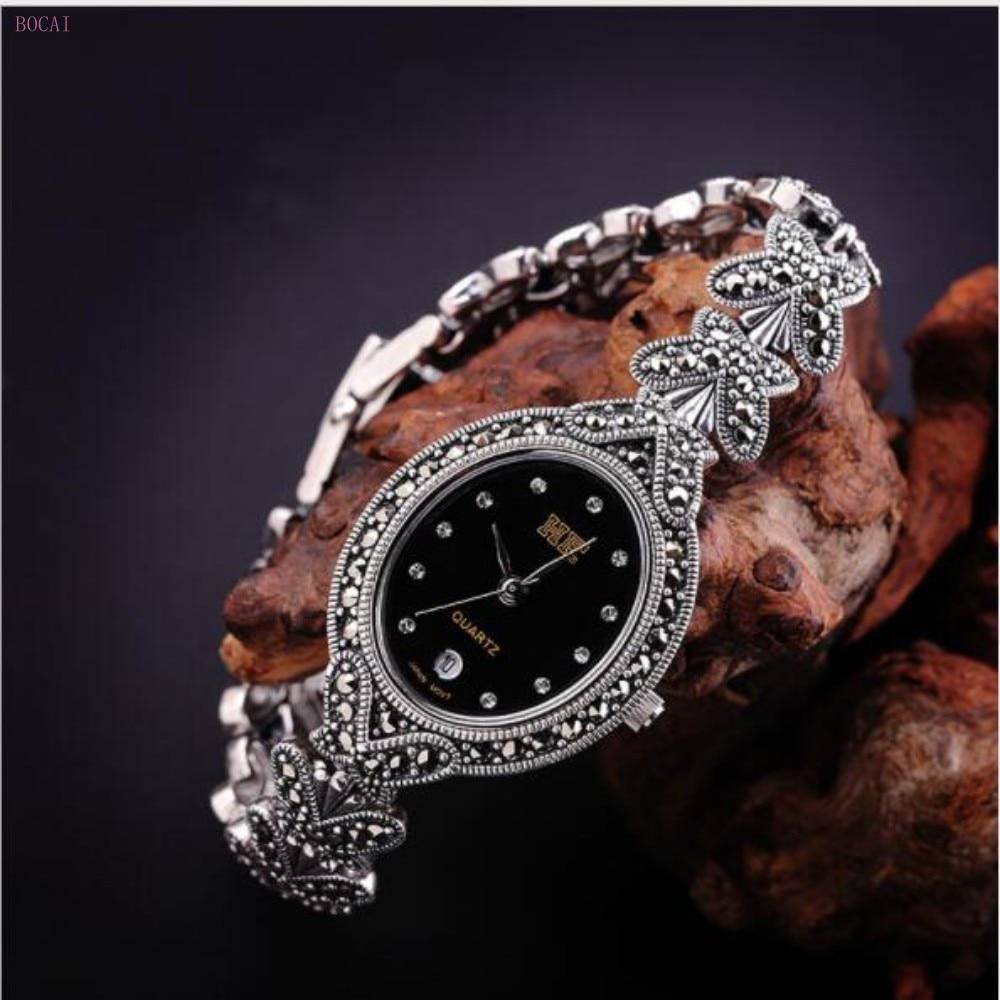 Zilver 925 S925 sterling zilveren armbanden voor vrouwen 2019 nieuwe stijl mode sieraden handgemaakte vlinder retro Horloge armbanden