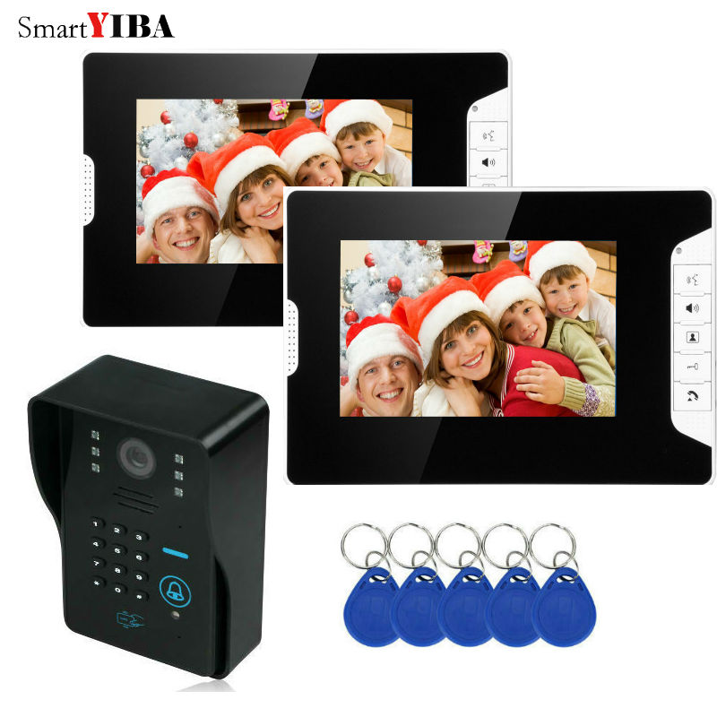 SmartYIBA 7 Inch Video Intercom IR Night Vision RFID Access Door Camera LED Monitor Doorbell Intercom Security Door Phone  Kits