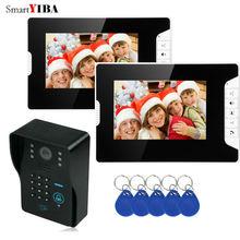 SmartYIBA 7 pouces interphone vidéo IR Vision nocturne RFID accès porte caméra moniteur LED sonnette interphone sécurité porte téléphone kits