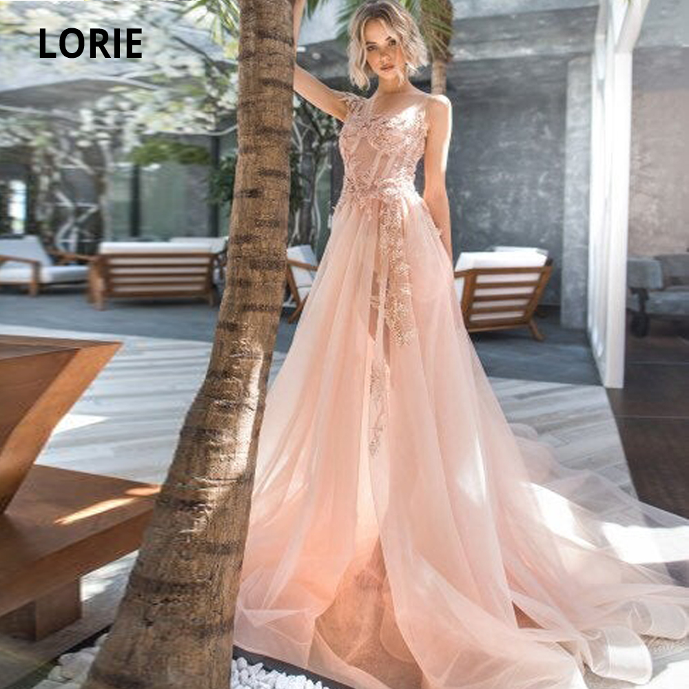 LORIE Lace Wedding Dresses Boho 2019 Sleeveless Bridal Gowns Tulle Appliqued Beach Wedding Gowns Long Train Back Illusion