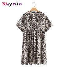 2019 Women V Neck Short Sleeve Dress Stylish Snake Print Straight Pleated Female Mini Dress Casual Loose Cute Women Dresses все цены