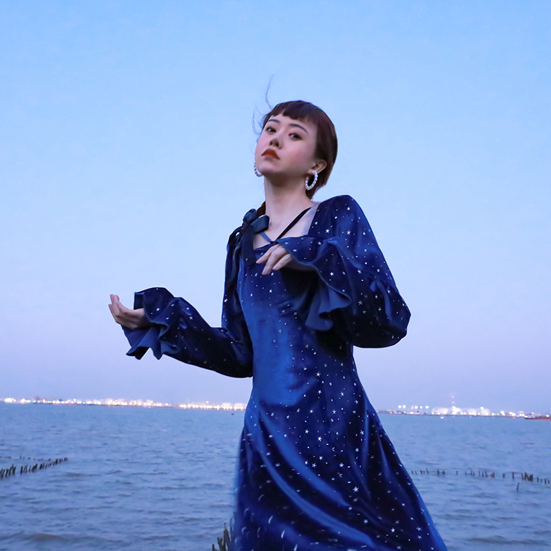 Princess dress  women's French  velvet dress long women Sweet lolita dress vintage falbala cute printing high waist cute girl
