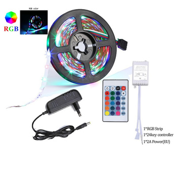 5m LED Strip White Warm white Single Color Tape Diod DC12V 300LEDs/5m 5050 2835 SMD Flexible Ribbon fita led light strip+Adapter image