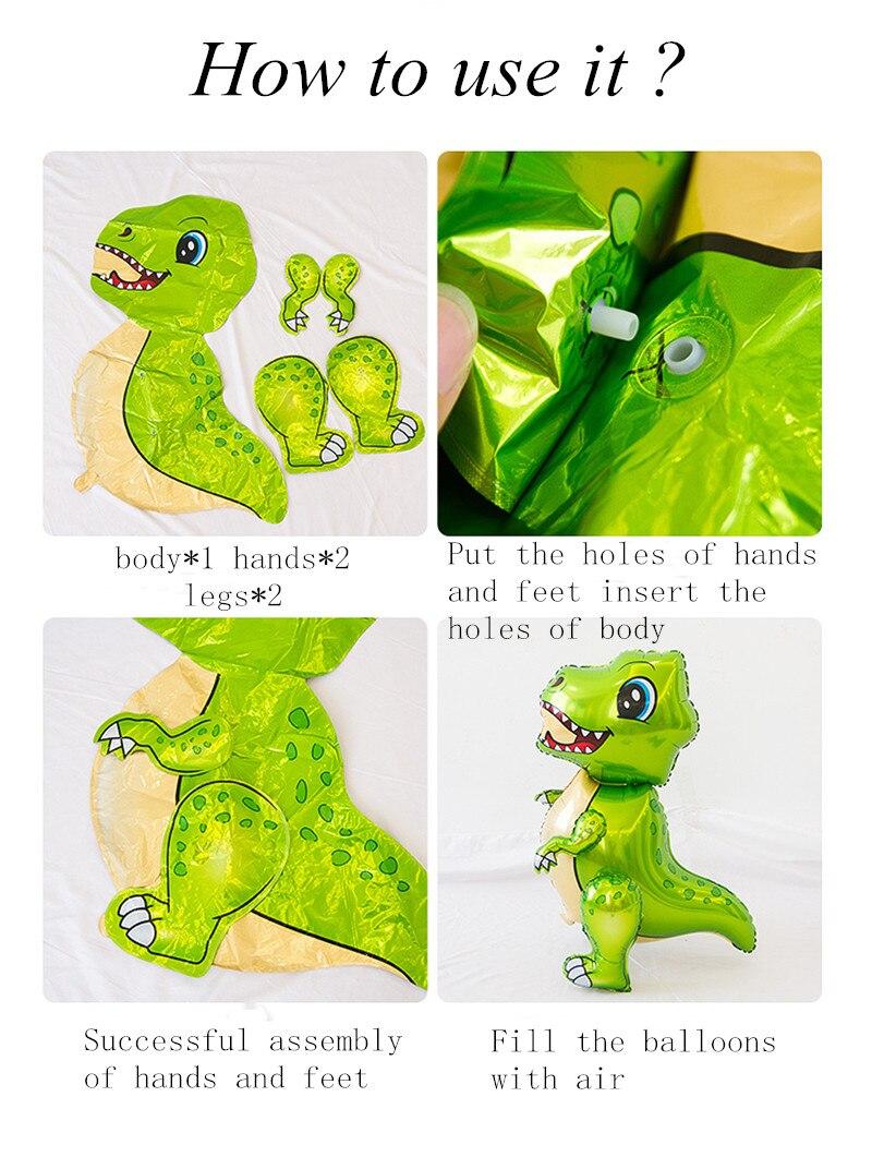 Большие шагающие 4D фольгированные воздушные шары динозавр в стиле джунглей, животные, украшения для дня рождения мальчиков, Юрского периода, дракон, детские игрушки, новый год 2021-5