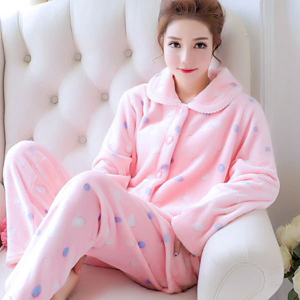 Winter New Products Cardigan Fold-down Collar Flannel Pajamas Women's Coral Velvet Thick Warm Homewear Set