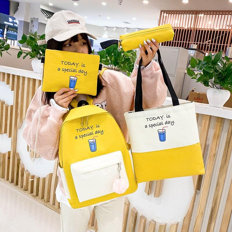 Women's Small Fresh Canvas Backpack 4pcs/set Fashion Backpack  Letters Print Hit Color Women Shoulder Durable School Plecak 2020