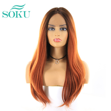 Synthetic Middle Part Lace Front Wigs SOKU Long Straight Dar