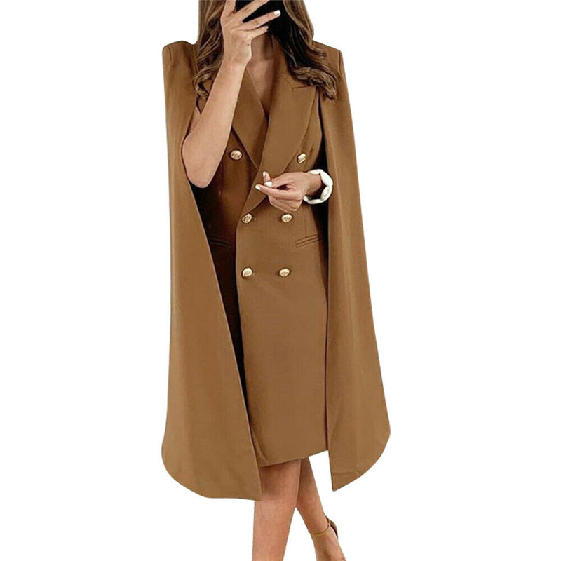 Khaki 2020 New Spring Casual Trench Women Loose Trench Coat Oversize Female Double Breasted Vintage Overcoats Long Coats Outwear
