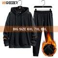 Winter Männer Hoodies Fleece Mit Kapuze Hosen Set 68% Baumwolle Große Größe 6XL 7XL 8XL Trainingsanzug Set Sport Streetwear Sportswear Sweatshirt