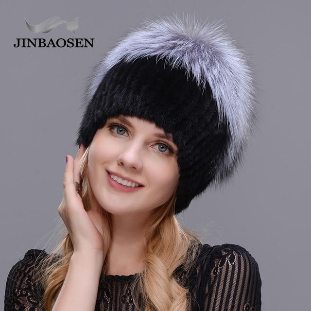 JINBAOSEN Womens winter mink fur hat real silver fox fur warm ski cap natural fur knit fur cap brand fashion Russian style