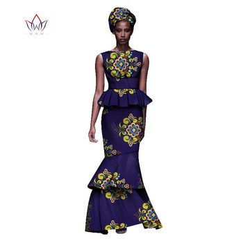 2020 New African Dresses For Women Dashiki Ladies Clothes Ankara O-Neck Africa Clothes Two Pieces Set Natural 6xl None WY1054 - 27, L