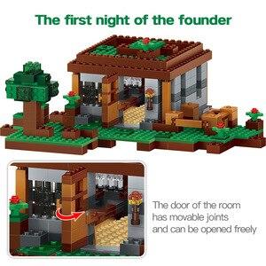 Image 2 - 408pcs 첫 번째 밤 모험 쉼터 모델 빌딩 블록 마을 Eductional 벽돌 장난감 어린이위한