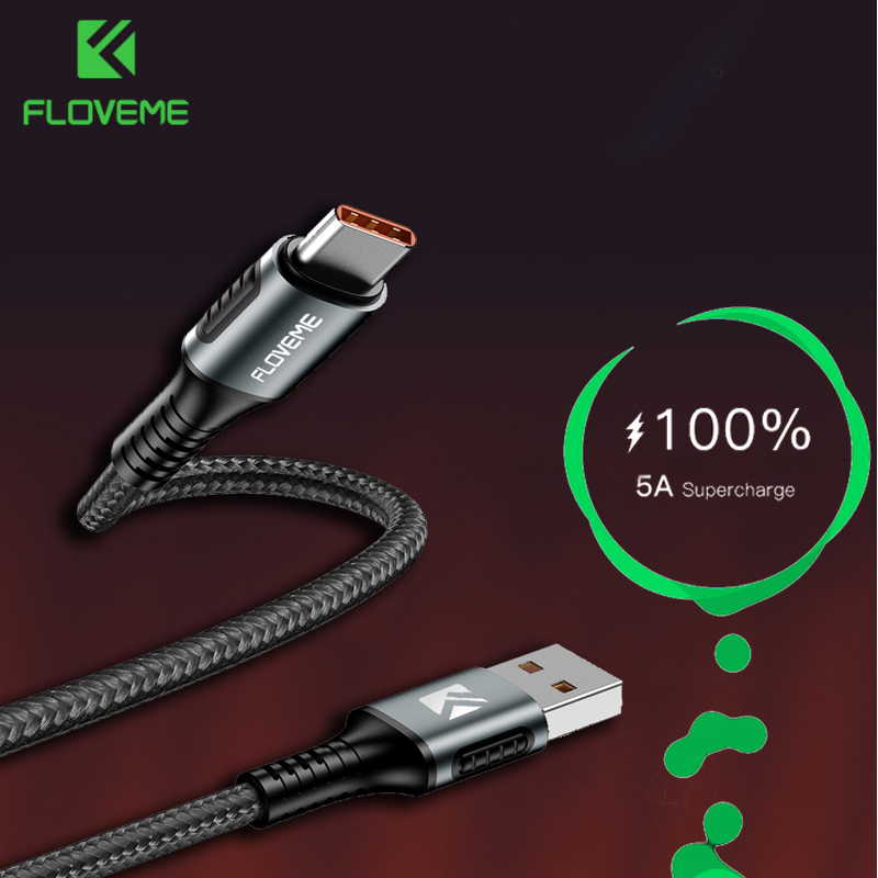 FLOVEME 5A USB Type C Cable Supercharge USB C Charging Cable For Huawei P20 P30 Pro 1.1M Quick Charging Charger Type USB-C Wire