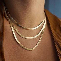 AENSOA Punk wielowarstwowy płaskie ostrze wąż Link Choker łańcuszek naszyjnik z amuletem kobiety złoty kolor wąż łańcuch kołnierz naszyjniki 10 mm