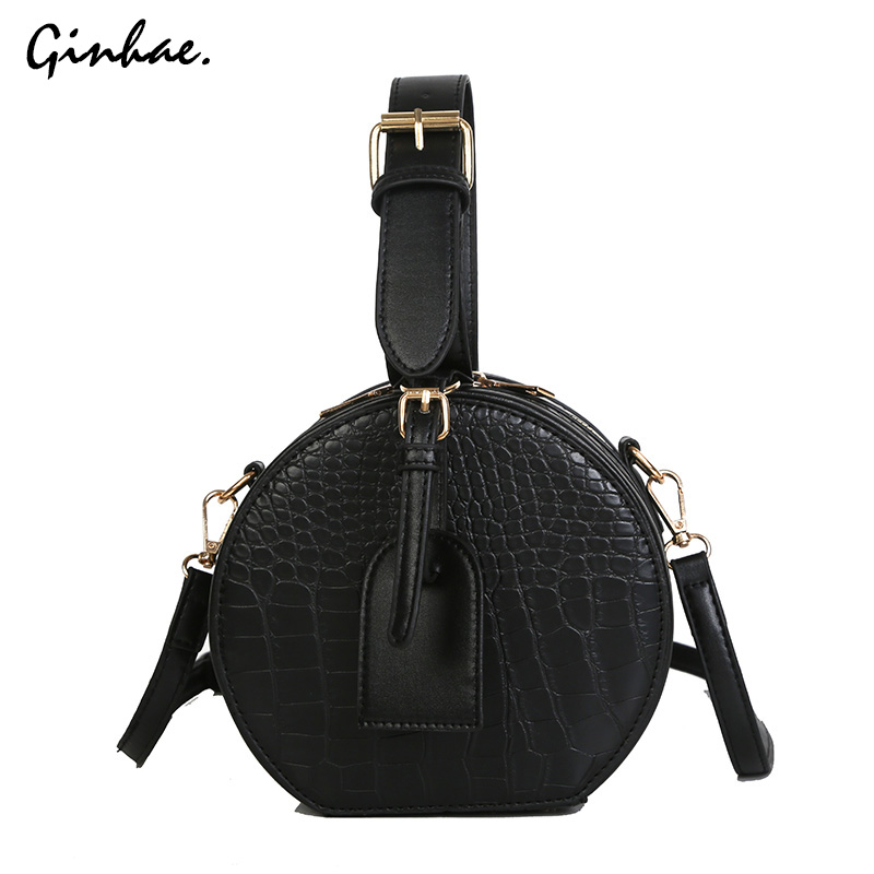 Vintage Crocodice Pattern Circular Bags For Women Fashion Solid Handbags Wide Strap Messenger Bags Soft Leather Crossbody Bags
