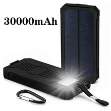 Solor Power Bank 30000mAh Powerbank External Battery Portable Fast Charger for All Smartphone with Solar Panel charger bank