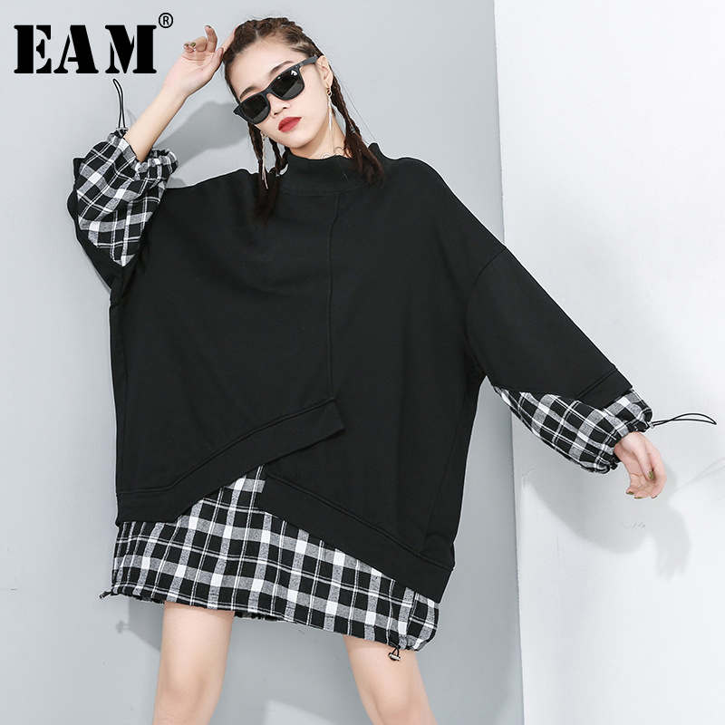 [EAM] Loose Fit Black Plaid Split Joint Oversized Sweatshirt New Round Neck Long Sleeve Women Big Size Fashion Spring 2020 1R175