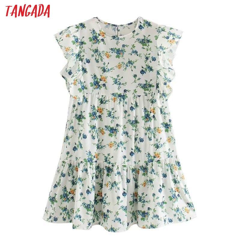 Tangada 2020 Summer Fashion Women Flowers Print Mini Dress Short Sleeve Ladies Vintage Short Dress Vestidos 2W05