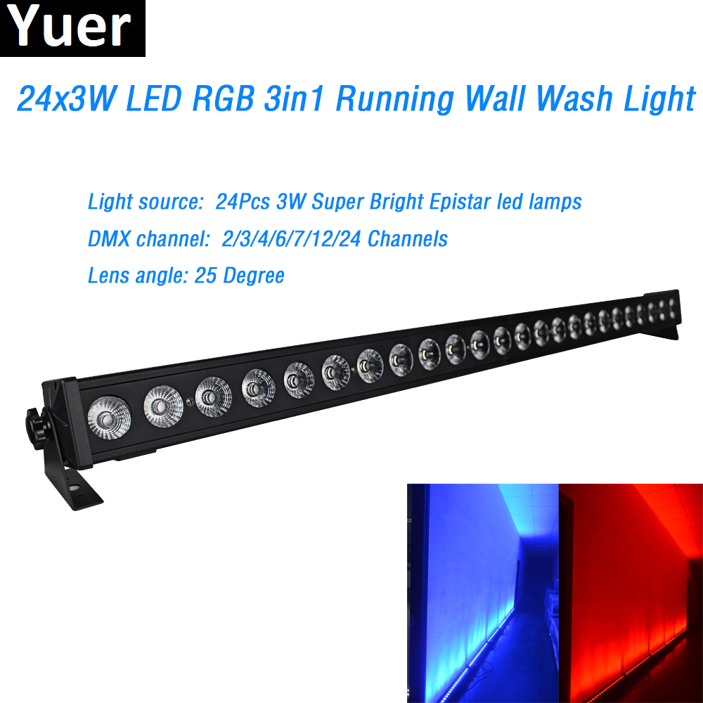 24x3w RGB 3IN1 Led Wall Washer Light DMX Wash Bar Led Lamp 2/4/6/7/12/24 Channels 25 Degree Lens Angle For Stage Party Disco DJ