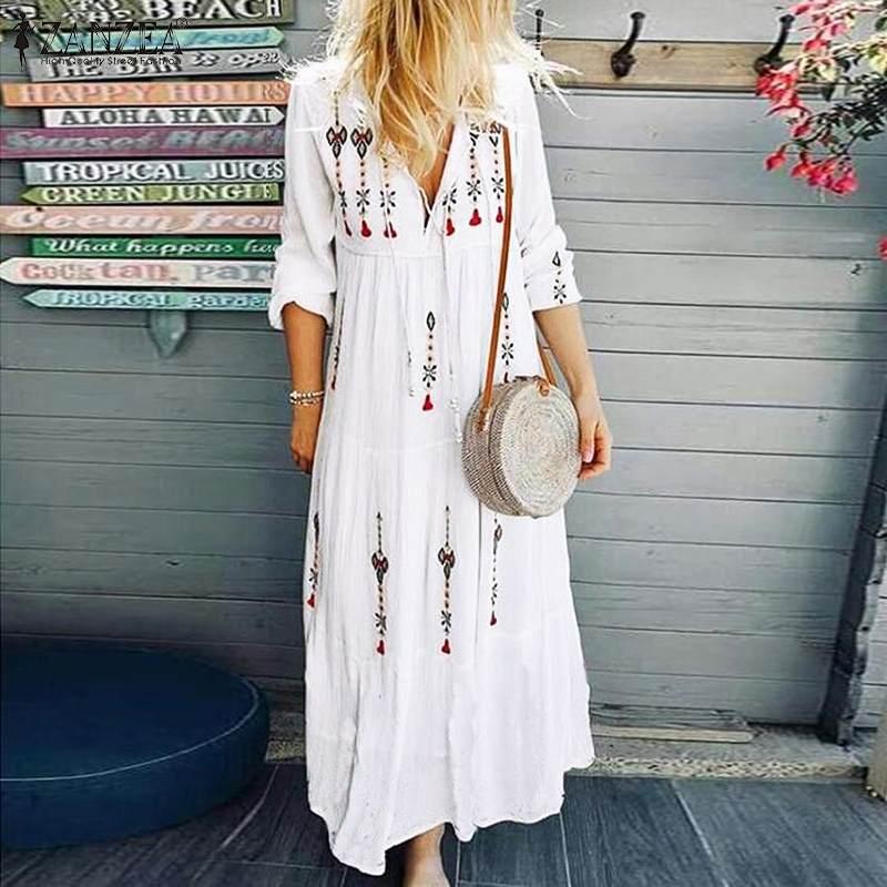 ZANZEA 2019 Women's Printed Sundress Bohemian V Neck Tunic Vestidos Plus Size Maxi Dress Female Fashion Long Sleeve Robe Femme