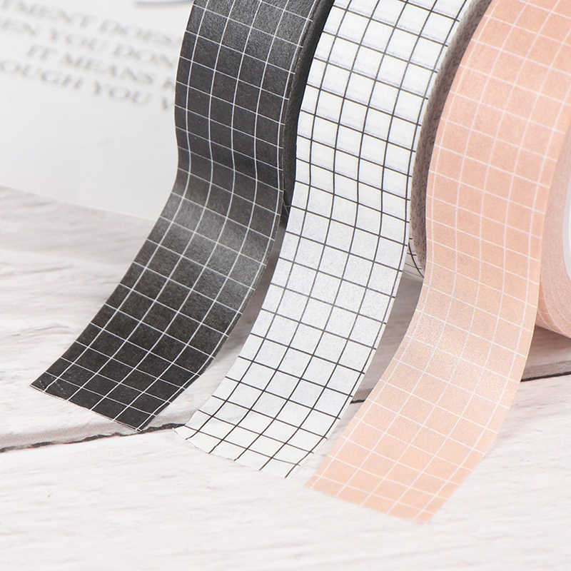 Grid Washi Tape Kertas Jepang DIY Perencana Masking Tape Perekat Stiker Stationery Tape Dekoratif Hot sale Colorful