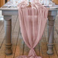 Chemin de Table en mousseline de soie rose, nappe de Table rectangulaire, romantique, pour fête de mariage, 29x122 pouces