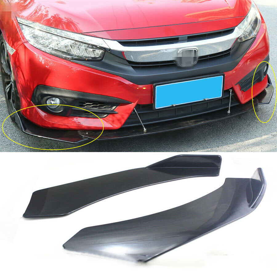2 X Universal Glossy Black Front Car Bumper Splitter Lip Body Protector Diffuser Kit