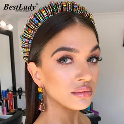 Best Lady Fashion Colorful Hairbands For Women Boho Crystal Bling Hair Accessories Jewelry Wedding Party Gifts Wholesale
