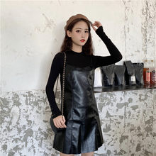 2019 New fall ins skinny bottom shirt , net red small black skirt PU leather skirt Two piece suit(China)