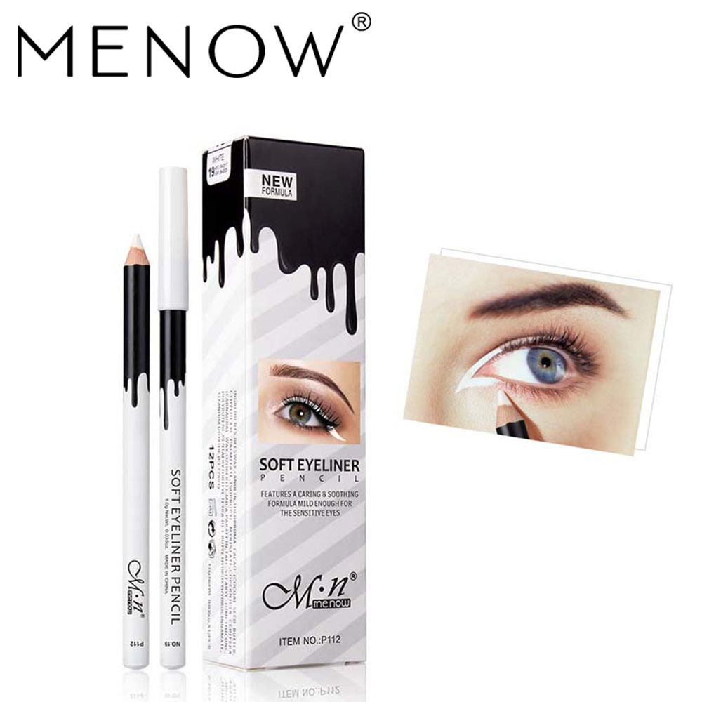 Menow/ Mellow 12 Pack / Box P112 Silkworm Brightening White High Gloss Waterproof Eyeliner Pen Waterproof Eyeliner