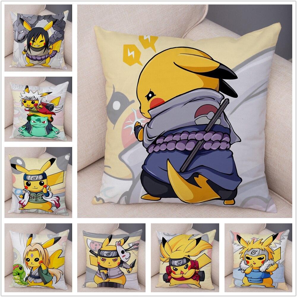 Funny Pikachu Cos Japan Anime Naruto Cushion Cover Decor Cute Cartoon Pokemon Pillowcase For Sofa Car Home Plush Pillow Cover