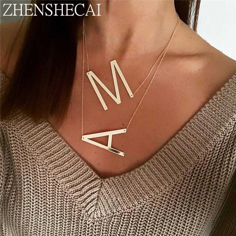 2019 New minimalist gold Color 26 AZ letter necklaces for women punk long large letter pendant necklace jewelry wholesale