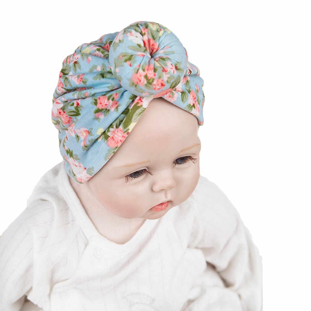 Pasgeboren Fotografie Baby Jongen Meisje Geknoopt Bloemenprint Bloem Hoed Beanie Hoofddeksels Cap Baby Hoed Motorkap Bebe Fille Шапка Детская