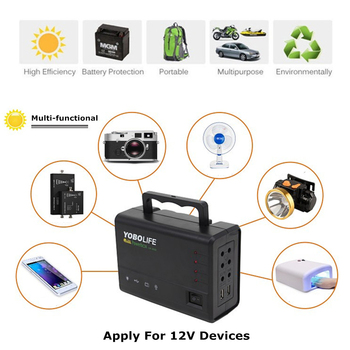 LED Light USB Charger 18V Solar Panel Power Storage Generator Home System Kit Rechargeable Sealed Lead-acid Battery ABS+PC 10W 2